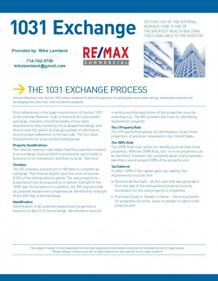 The 1031 Exchange Processes